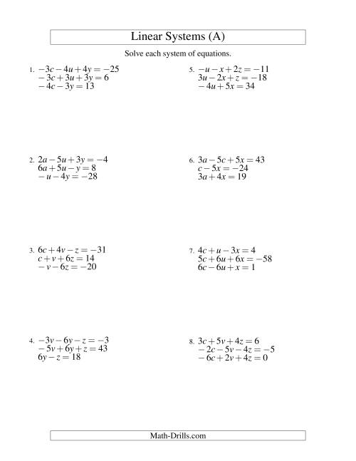 The Systems of Linear Equations -- Three Variables Including Negative Values (A) Math Worksheet
