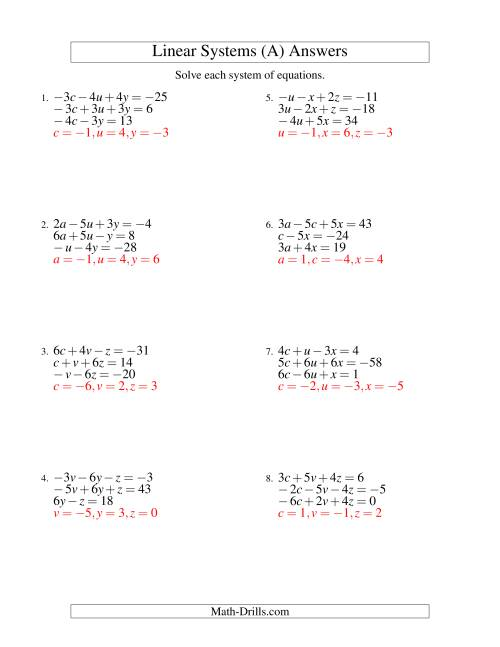 ... Worksheet Page 1 The Systems of Linear Equations -- Three Variables Including Negative Values (A) Math