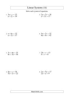 Systems of Linear Equations -- Two Variables
