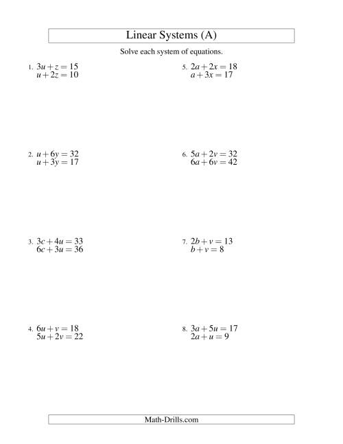 The Systems of Linear Equations -- Two Variables (A) Algebra Worksheet