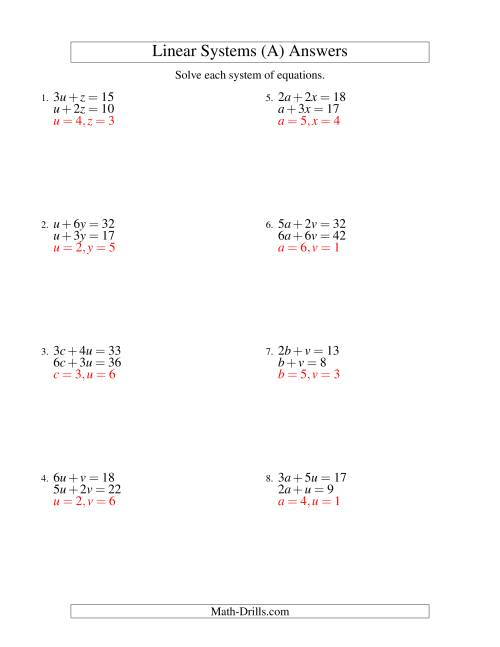 The Systems of Linear Equations -- Two Variables (A) Math Worksheet Page 2