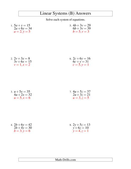 The Systems of Linear Equations -- Two Variables (B) Math Worksheet Page 2