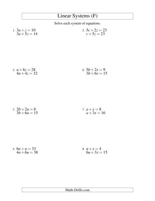 The Systems of Linear Equations -- Two Variables (F) Math Worksheet