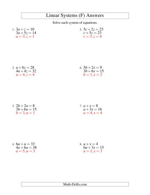 The Systems of Linear Equations -- Two Variables (F) Math Worksheet Page 2