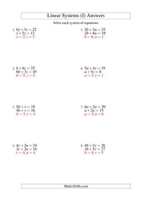 The Systems of Linear Equations -- Two Variables (I) Math Worksheet Page 2