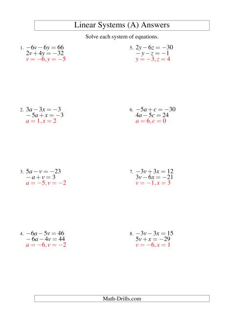 The Systems of Linear Equations -- Two Variables Including Negative Values (A) Math Worksheet Page 2