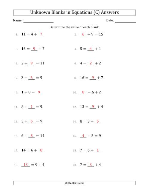 The Unknown Blanks in Equations - Addition - Range 1 to 9 - Any Position (C) Math Worksheet Page 2