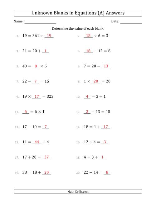 The Unknown Blanks in Equations - All Operations - Range 1 to 20 - Any Position (All) Math Worksheet Page 2