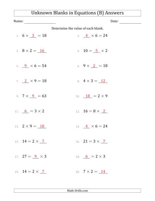 The Unknown Blanks in Equations - Multiplication - Range 1 to 9 - Any Position (B) Math Worksheet Page 2