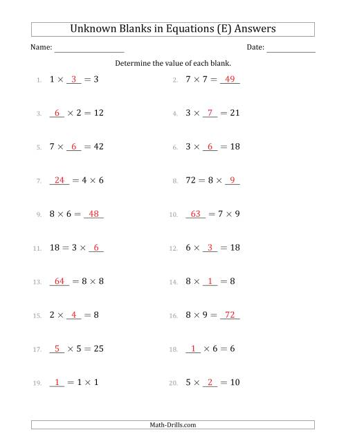 The Unknown Blanks in Equations - Multiplication - Range 1 to 9 - Any Position (E) Math Worksheet Page 2