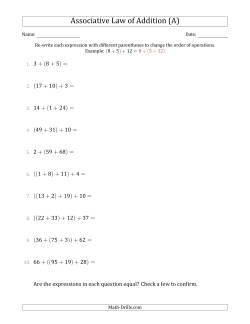 Associative Law of Addition (Whole Numbers Only)