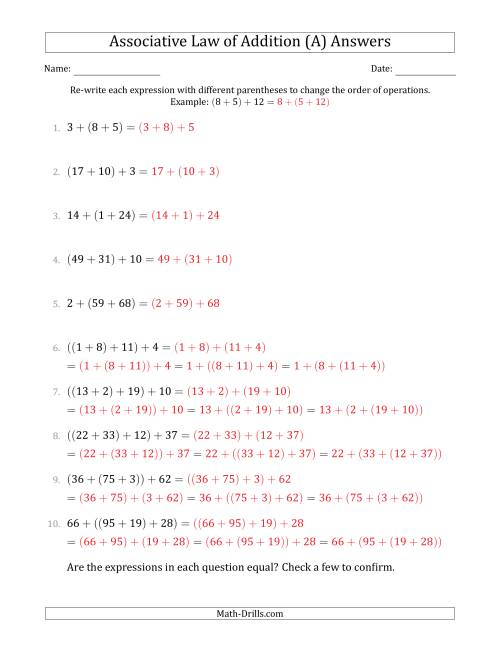 The Associative Law of Addition (Whole Numbers Only) (A) Math Worksheet Page 2