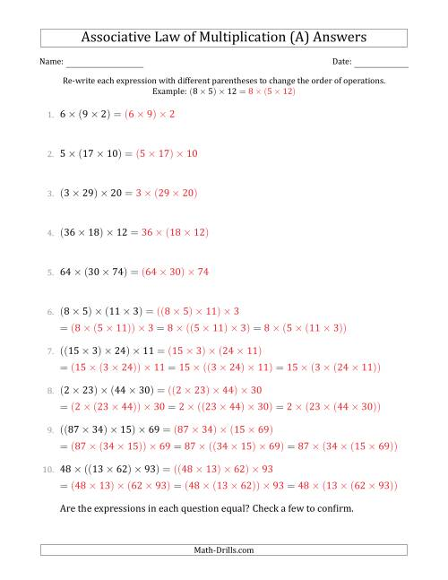 The Associative Law of Multiplication (Whole Numbers Only) (A) Math Worksheet Page 2
