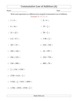 The Commutative Law of Addition (Numbers Only)