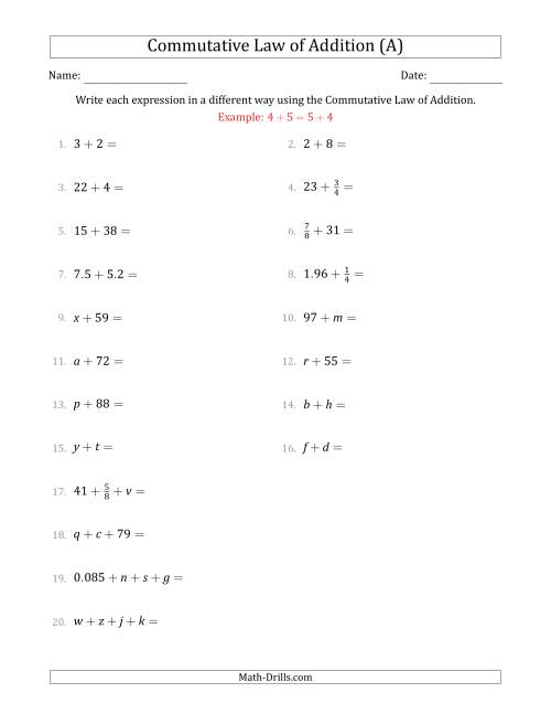 The The Commutative Law of Addition (Some Variables) (A) Math Worksheet