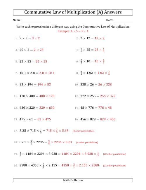 The The Commutative Law of Multiplication (Numbers Only) (A) Math Worksheet Page 2