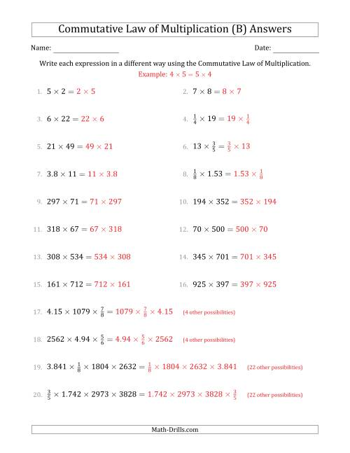 The The Commutative Law of Multiplication (Numbers Only) (B) Math Worksheet Page 2