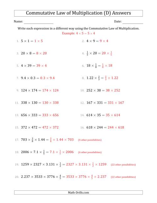The The Commutative Law of Multiplication (Numbers Only) (D) Math Worksheet Page 2