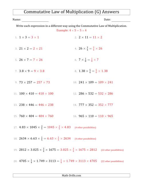 The The Commutative Law of Multiplication (Numbers Only) (G) Math Worksheet Page 2