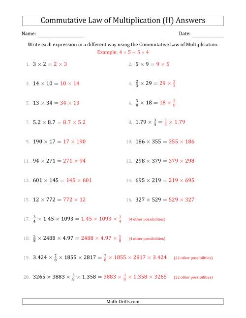 The The Commutative Law of Multiplication (Numbers Only) (H) Math Worksheet Page 2