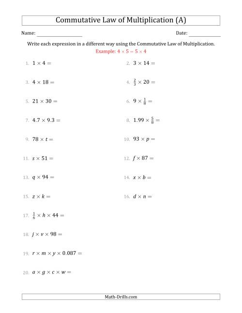 The Commutative Law of Multiplication (Some Variables) (A)