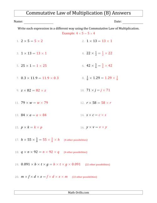 The The Commutative Law of Multiplication (Some Variables) (B) Math Worksheet Page 2