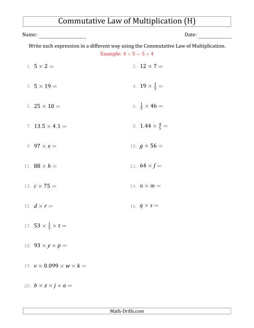 The The Commutative Law of Multiplication (Some Variables) (H) Math Worksheet