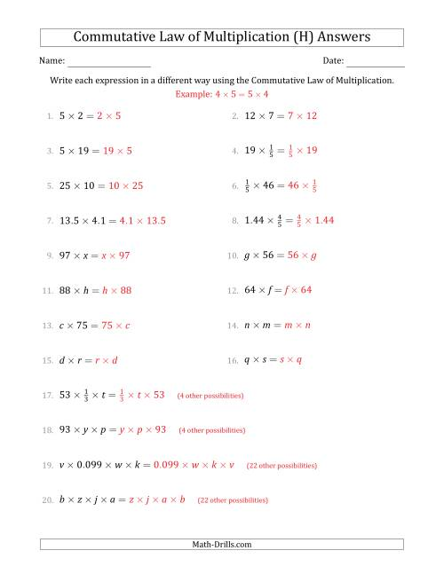 The The Commutative Law of Multiplication (Some Variables) (H) Math Worksheet Page 2