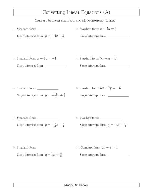 The Converting Between Standard and Slope-Intercept Forms (A) Math Worksheet