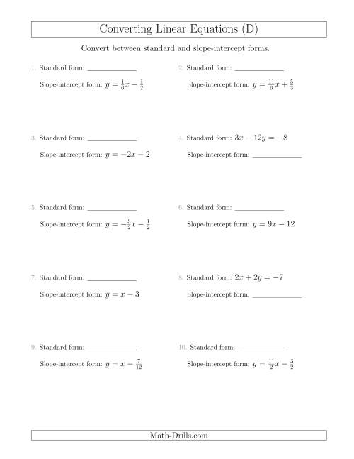 Slope Intercept Form on slope intercept worksheets pdf