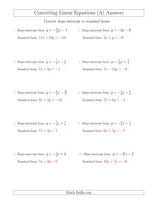 Worksheets Slope Intercept Worksheet standard form to slope intercept worksheet erkal jonathandedecker com converting from a