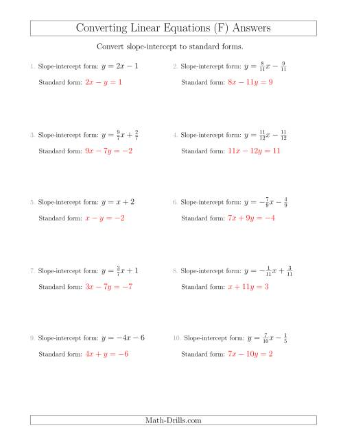 The Converting from Slope-Intercept to Standard Form (F) Math Worksheet Page 2