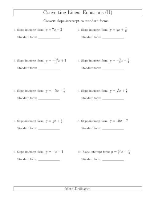 The Converting from Slope-Intercept to Standard Form (H) Math Worksheet