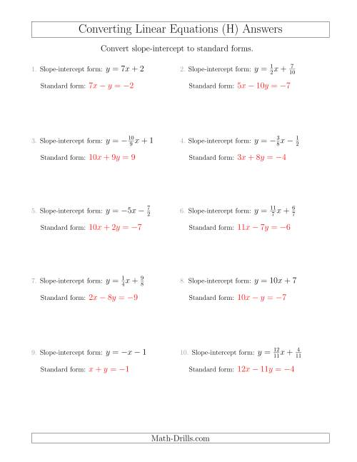 The Converting from Slope-Intercept to Standard Form (H) Math Worksheet Page 2