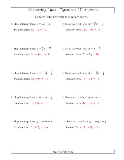 The Converting from Slope-Intercept to Standard Form (J) Math Worksheet Page 2