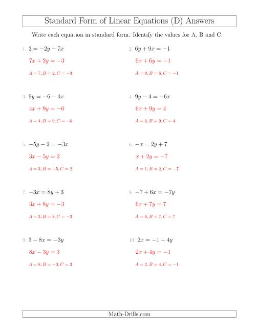 Rewriting Linear Equations in Standard Form (D)