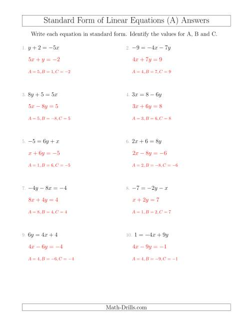 The Rewriting Linear Equations in Standard Form (All) Math Worksheet Page 2