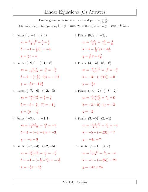 The Writing a Linear Equation from Two Points (C) Math Worksheet Page 2