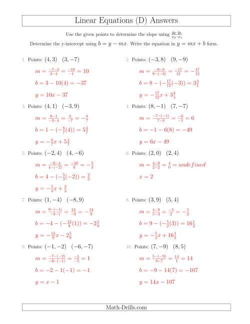 The Writing a Linear Equation from Two Points (D) Math Worksheet Page 2