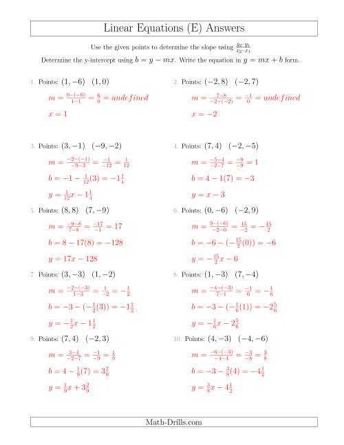 The Writing a Linear Equation from Two Points (E) Math Worksheet Page 2