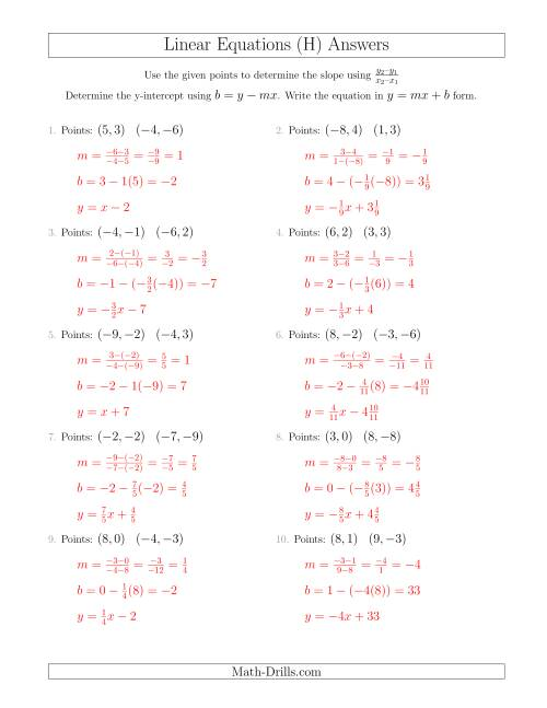 The Writing a Linear Equation from Two Points (H) Math Worksheet Page 2