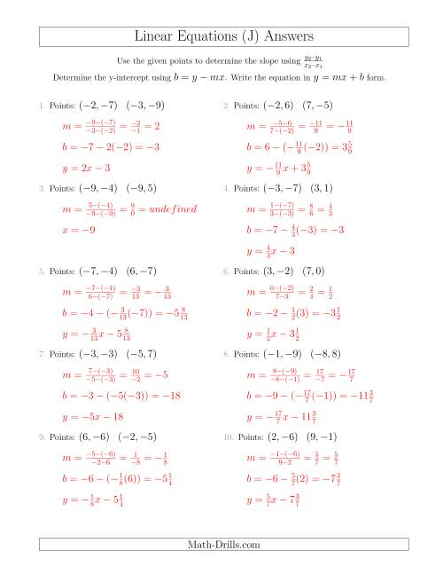 The Writing a Linear Equation from Two Points (J) Math Worksheet Page 2