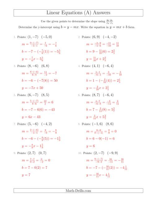 The Writing a Linear Equation from Two Points (All) Math Worksheet Page 2