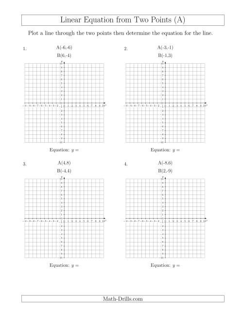 worksheet Graphing Linear Equations Worksheet determine a linear equation by graphing two points arithmetic