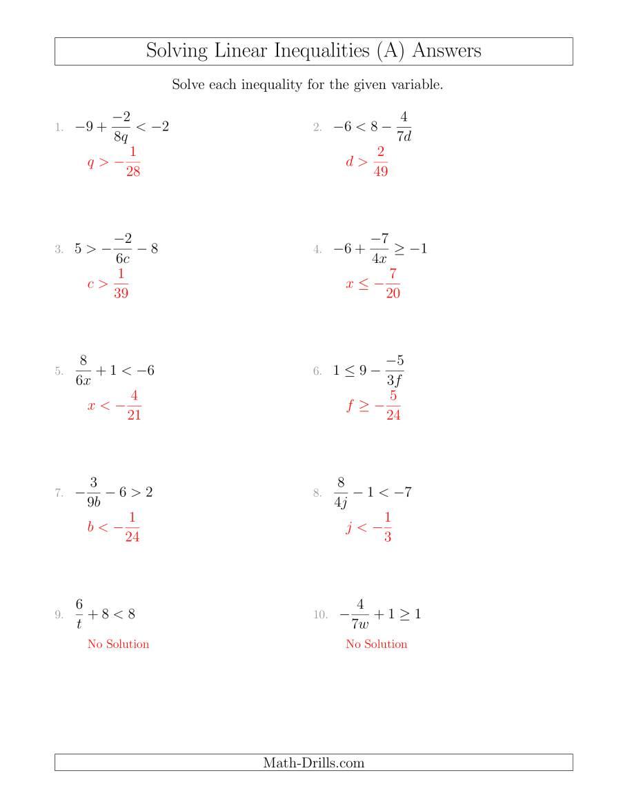 Systems Of Linear Inequalities Worksheet | Homeschooldressage.com