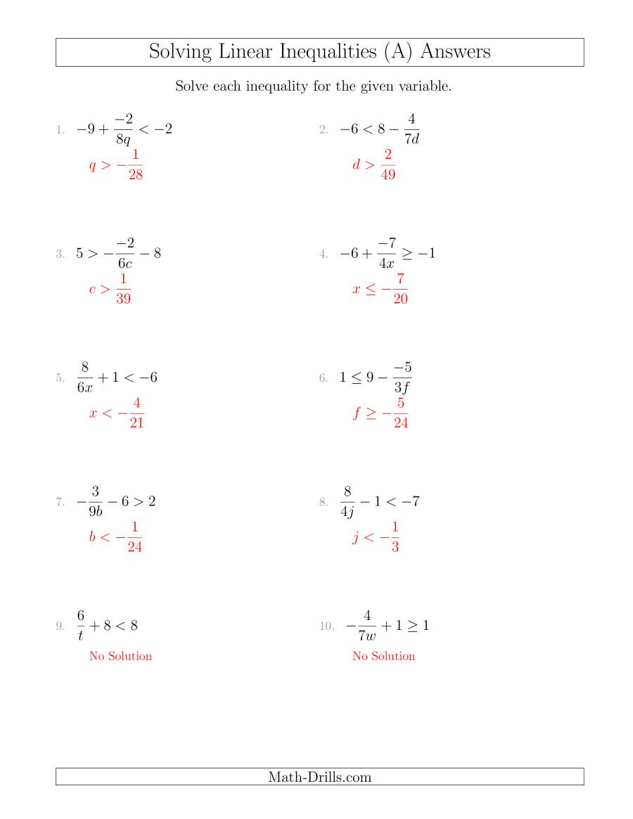 Worksheets Linear Inequalities Worksheet solving linear inequalities including a third term multiplication worksheet page 1 the and division by variable