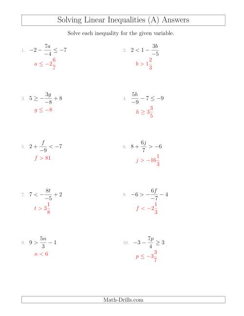 The Solving Linear Inequalities Including a Third Term, Multiplication and Division (A) Math Worksheet Page 2