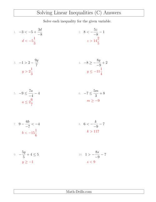 The Solving Linear Inequalities Including a Third Term, Multiplication and Division (C) Math Worksheet Page 2