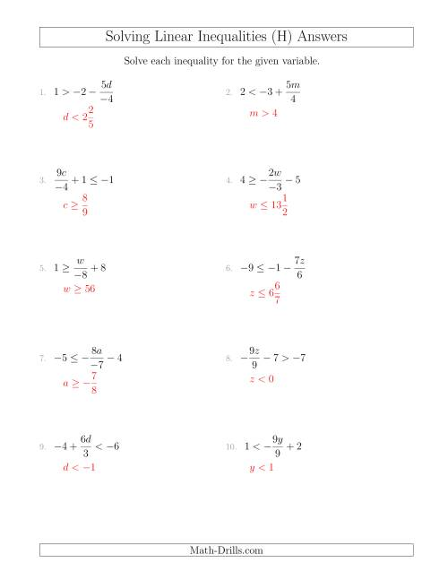 The Solving Linear Inequalities Including a Third Term, Multiplication and Division (H) Math Worksheet Page 2