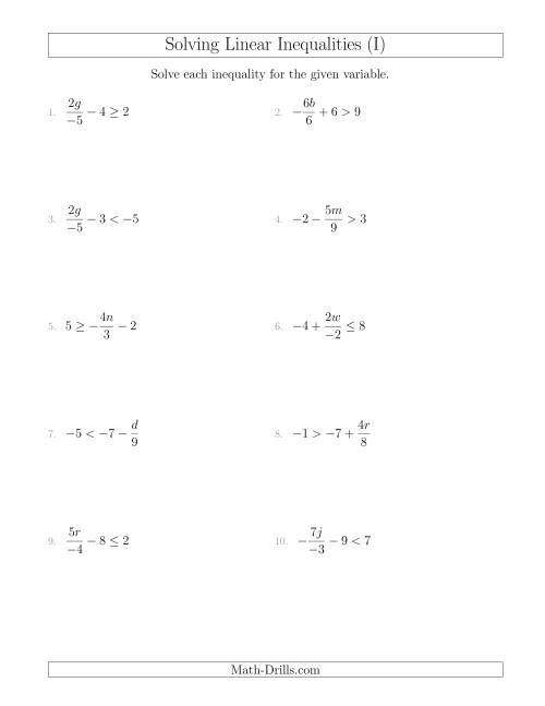 The Solving Linear Inequalities Including a Third Term, Multiplication and Division (I) Math Worksheet